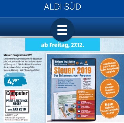 Aldi Süd Steuer CD 2019 ( ab 27.12 ) bei Aldi Süd