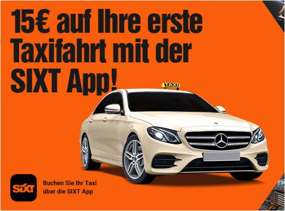 15€ Rabatt für die erste Taxifahrt mit der Sixt Ride App