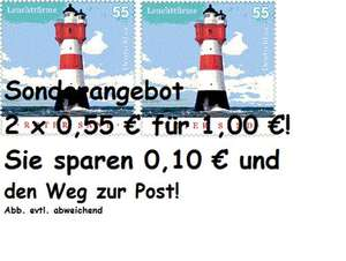2 x 0,55 € Briefmarke Sonderangebot für 1,00 €!