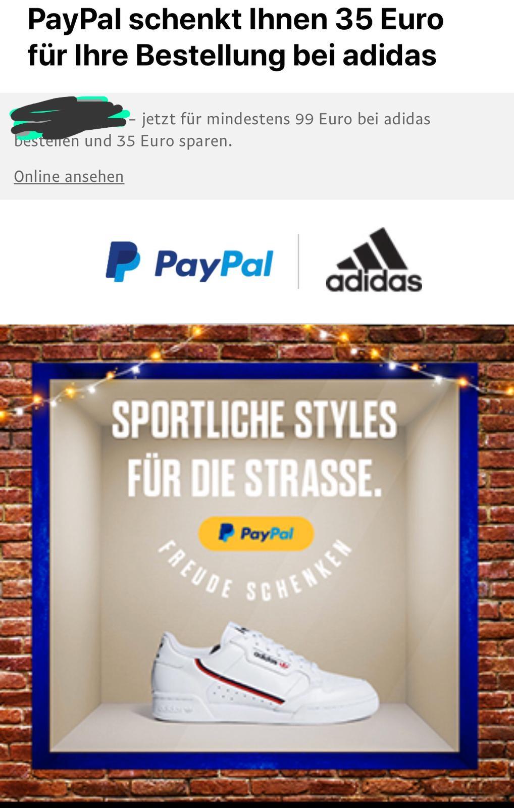 Paypal Adidas 35 € GUTSCHEIN