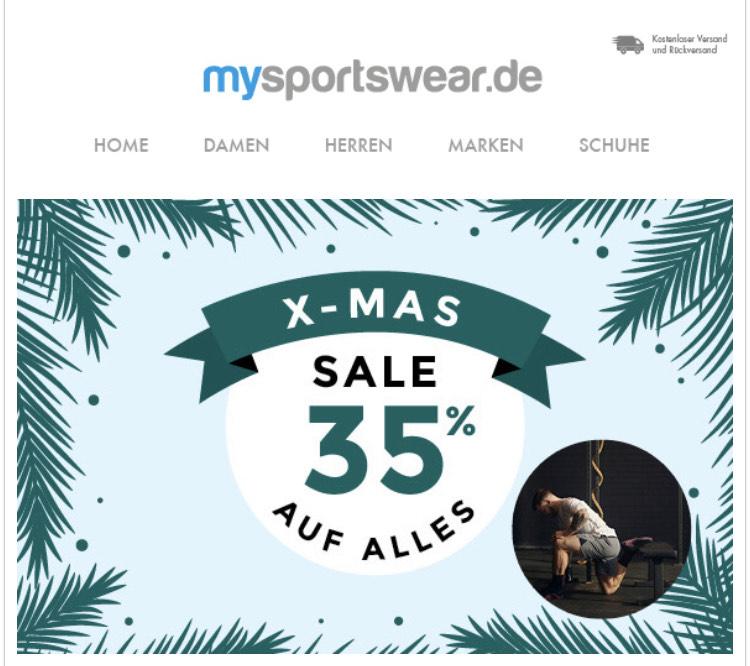 X-MAS Sale 35 % auf Alles bei mysportswear.de