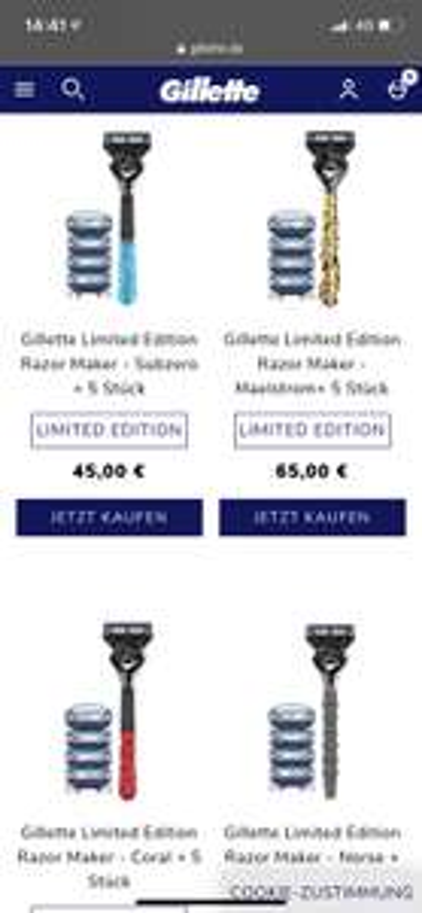 GILLETTE LIMITED EDITION RAZOR MAKER - XXX + 5 STÜCK + Gratis VSK