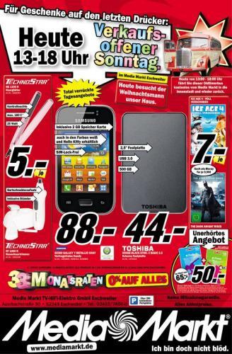 [offline & lokal] MM Eschweiler nur heute: 65€ iTunes Guthaben für 50€, Ice Age 4 od. The Dark Knight Rises DVD 7€ (Blu-ray 9,90€), 500GB BLACK STOR. E BASIC 2.5 Externe Festplatte USB 3.0 für 44 € etc