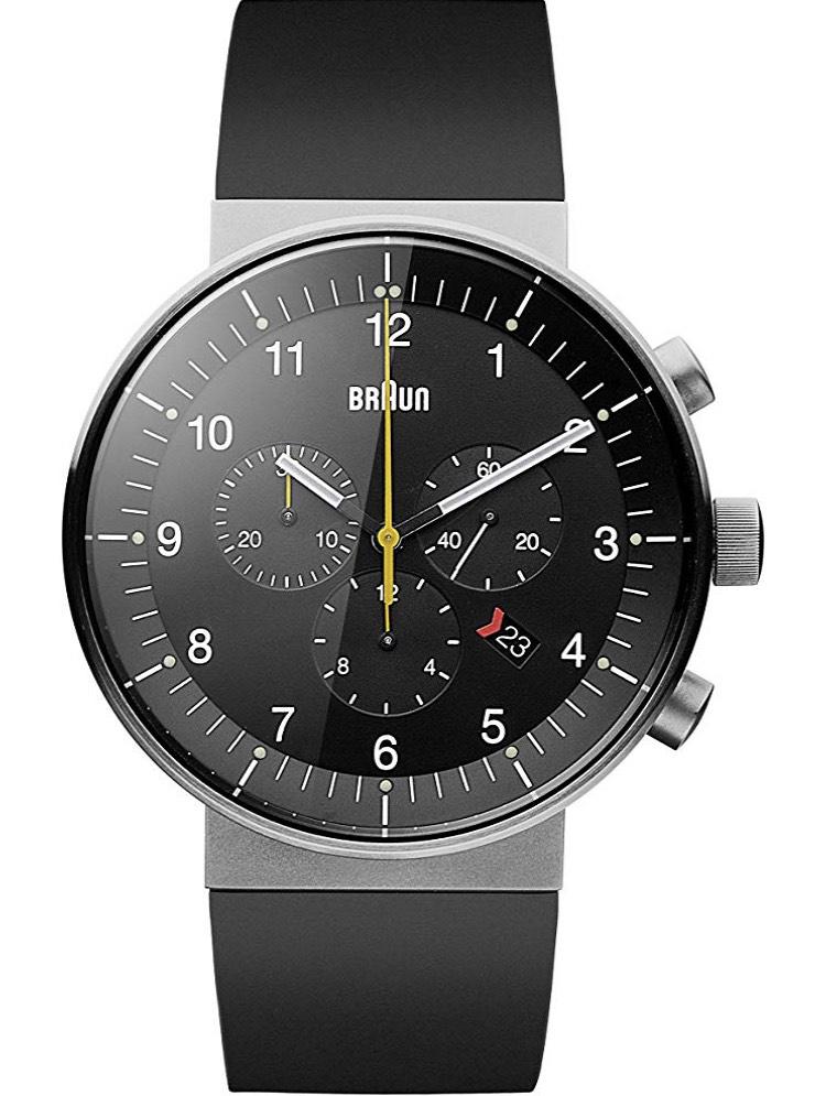 Braun Herren Analog Quarz Uhr mit Kautschuk Armband BN0095BKSLBKG