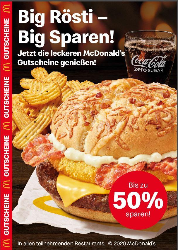 [ McDonald's ] Doppelpack-Aktion- Gutscheine vom 06.01 bis 02.02..Zb. 2x Bic Mac zum Preis vom 1/ 3€ Gutschein ab 10€ für Delivery Service