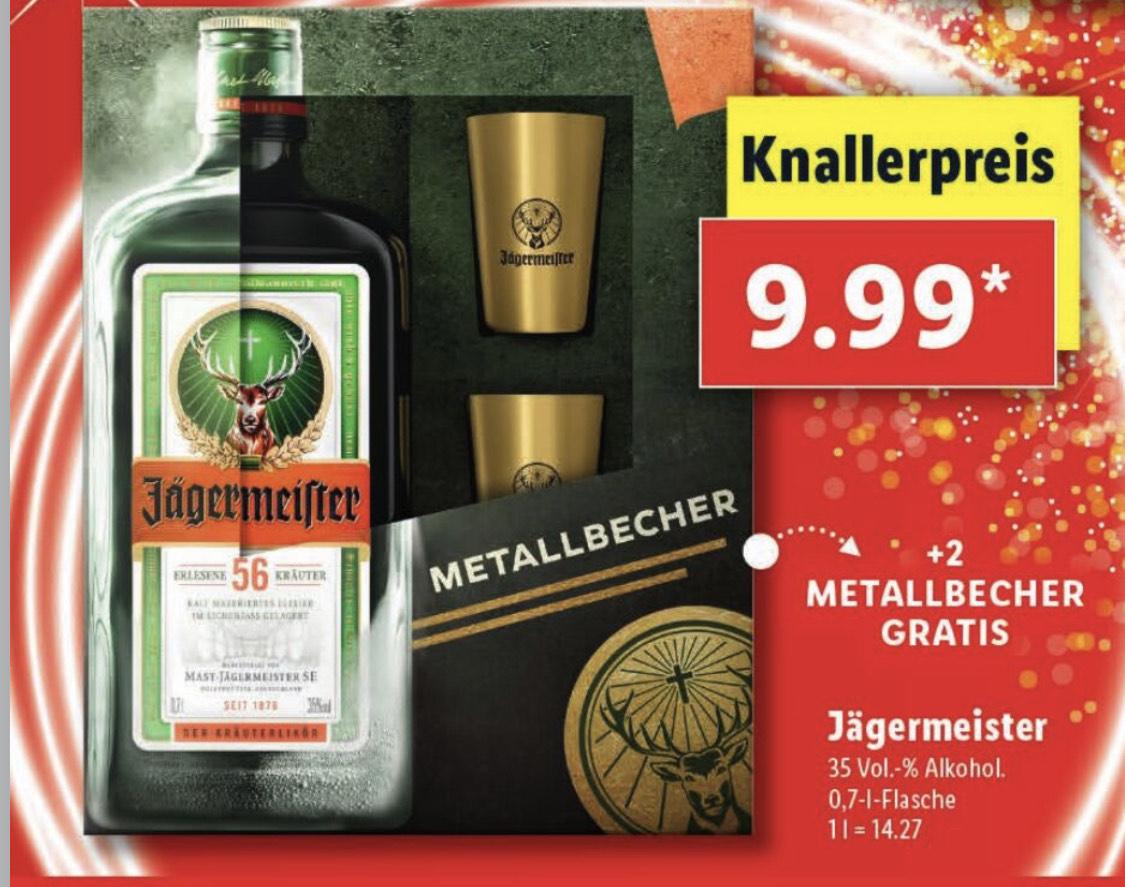 Lidl Jägermeister (0,7l) + 2 Metallbecher