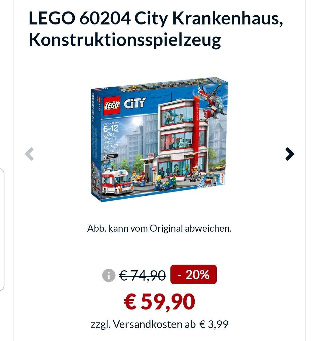 LEGO City Krankenhaus (60204) bei Alternate durch Paydirekt-Gutschein günstiger