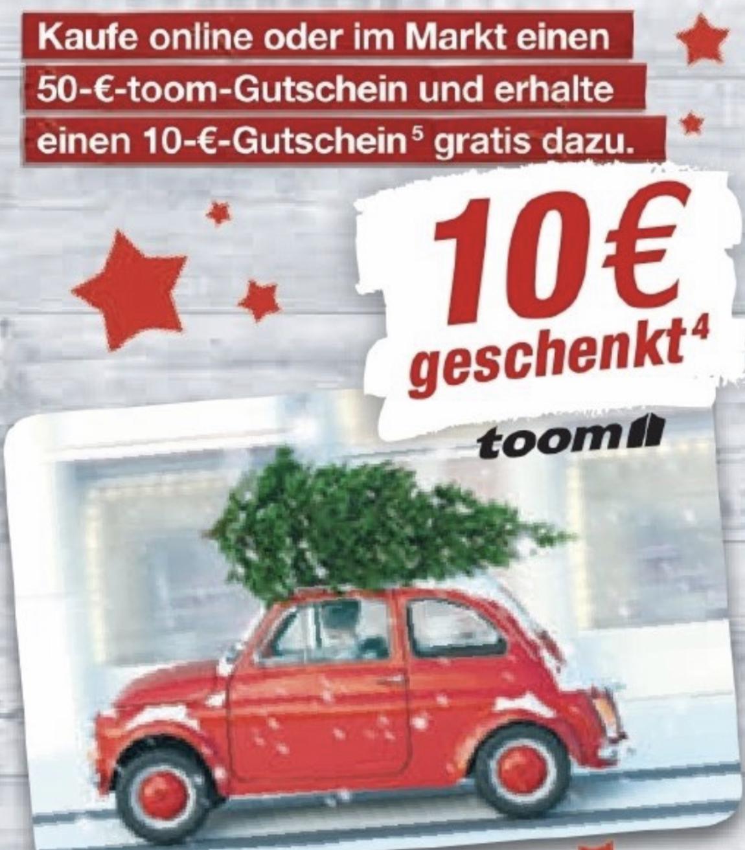 Toom Baumarkt: 50€ Geschenkkarte kaufen und 10€ Geschenkkarte GRATIS dazu erhalten - nur am 20.12. - online und im Markt