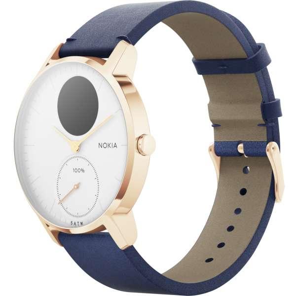 [Yakodo] Nokia STEEL HR ROSE GOLD, 36mm white blue leather strap Fitness-Tracker Pulsuhr