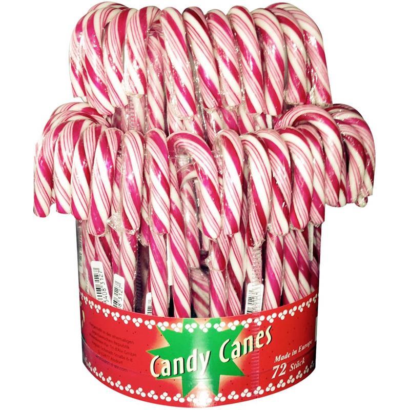 Candy Stöcke rot-weiß 72 Zuckerstangen in der Dose (18cm & einzeln verpackt)