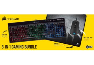 Corsair Gaming-Bundle: Tastatur Corsair K55 RGB + Maus Corsair M55 RGB Pro + Mauspad Corsair Gaming MM300 Medium