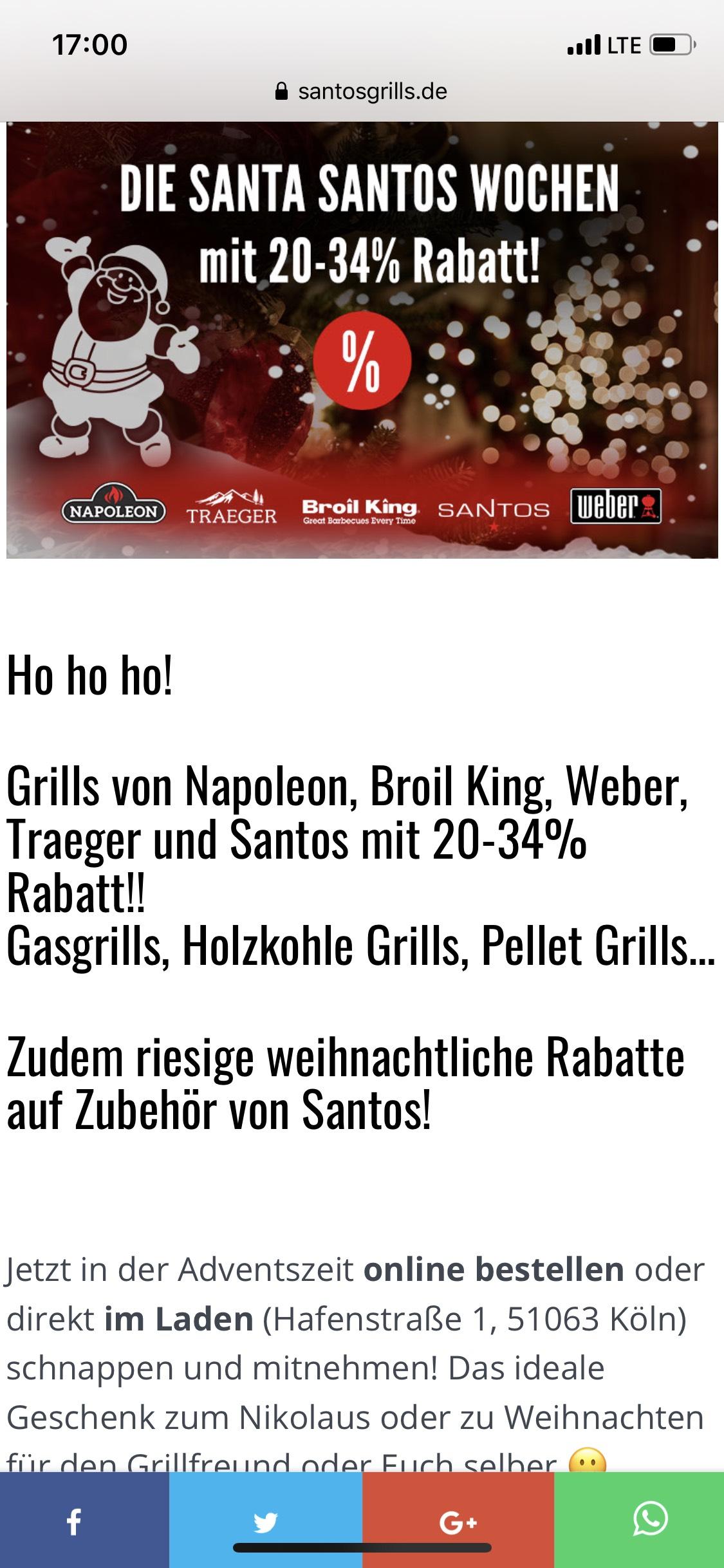 Santos Grill - DIE SANTA SANTOS WOCHEN mit 20-34% Rabatt!