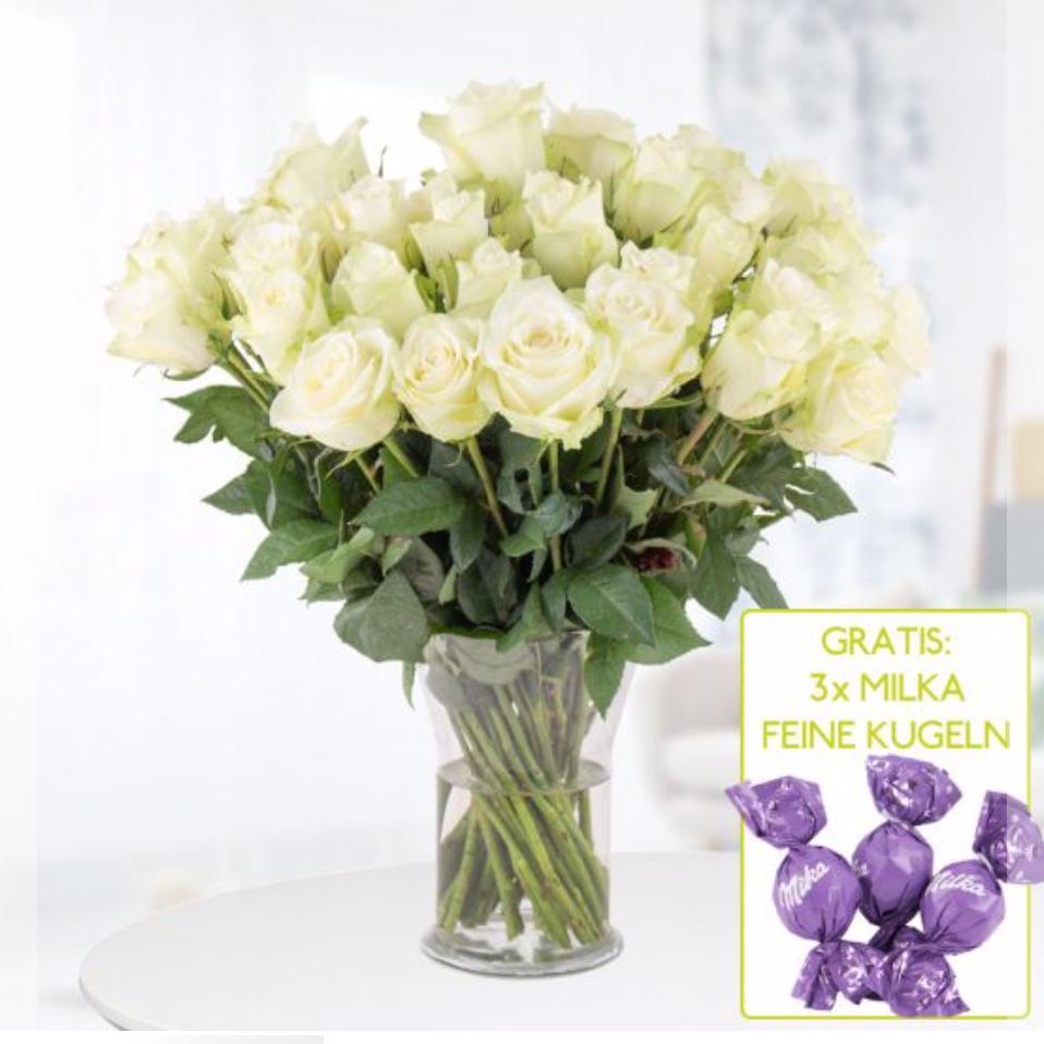 Alle Blumensträuße versandkostenfrei im [Blumenshop] z.B. 40 weiße Rosen + Milka Schokolade für 19,99€
