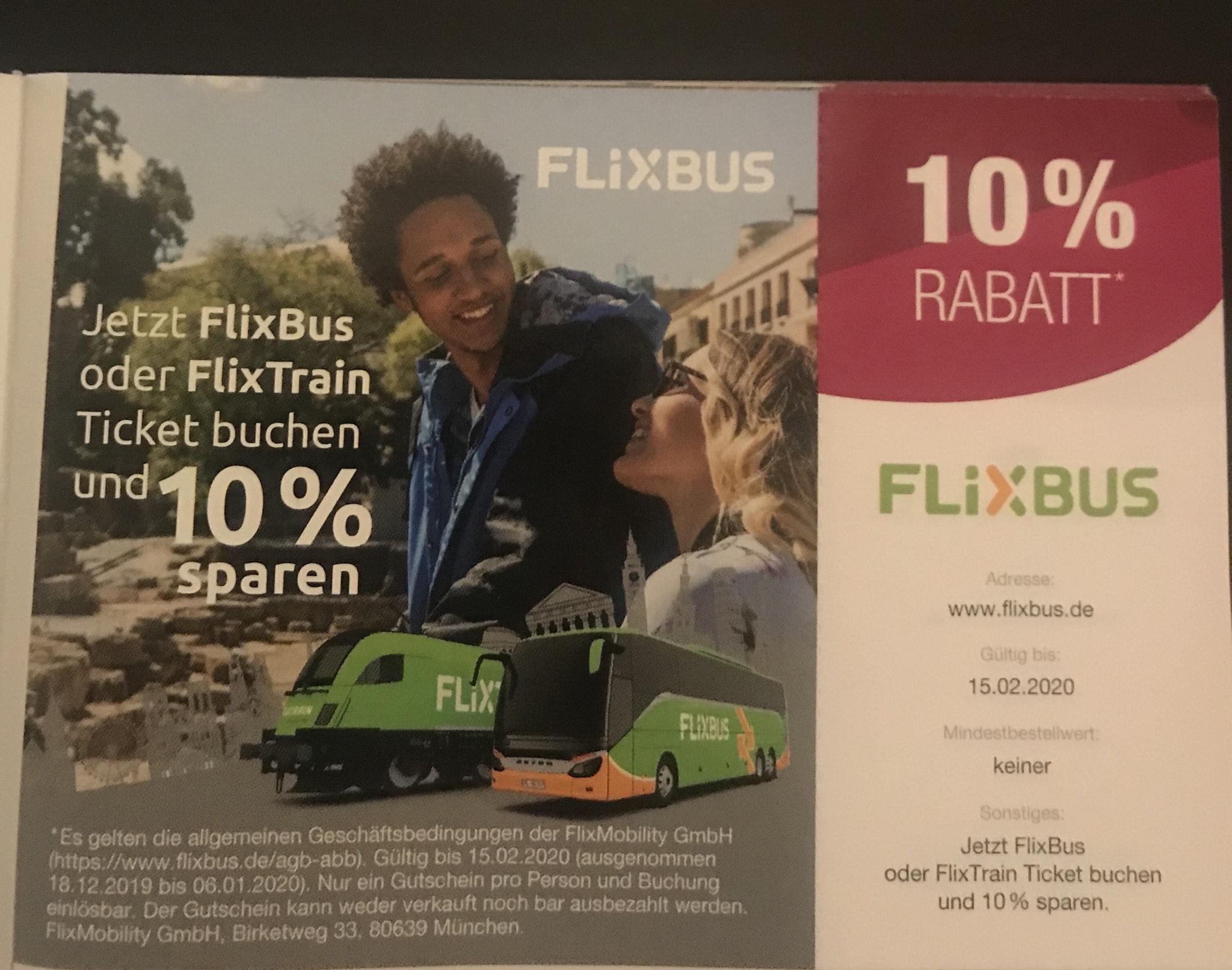 FlixBus FlixTrain 10% Rabatt ohne MBW