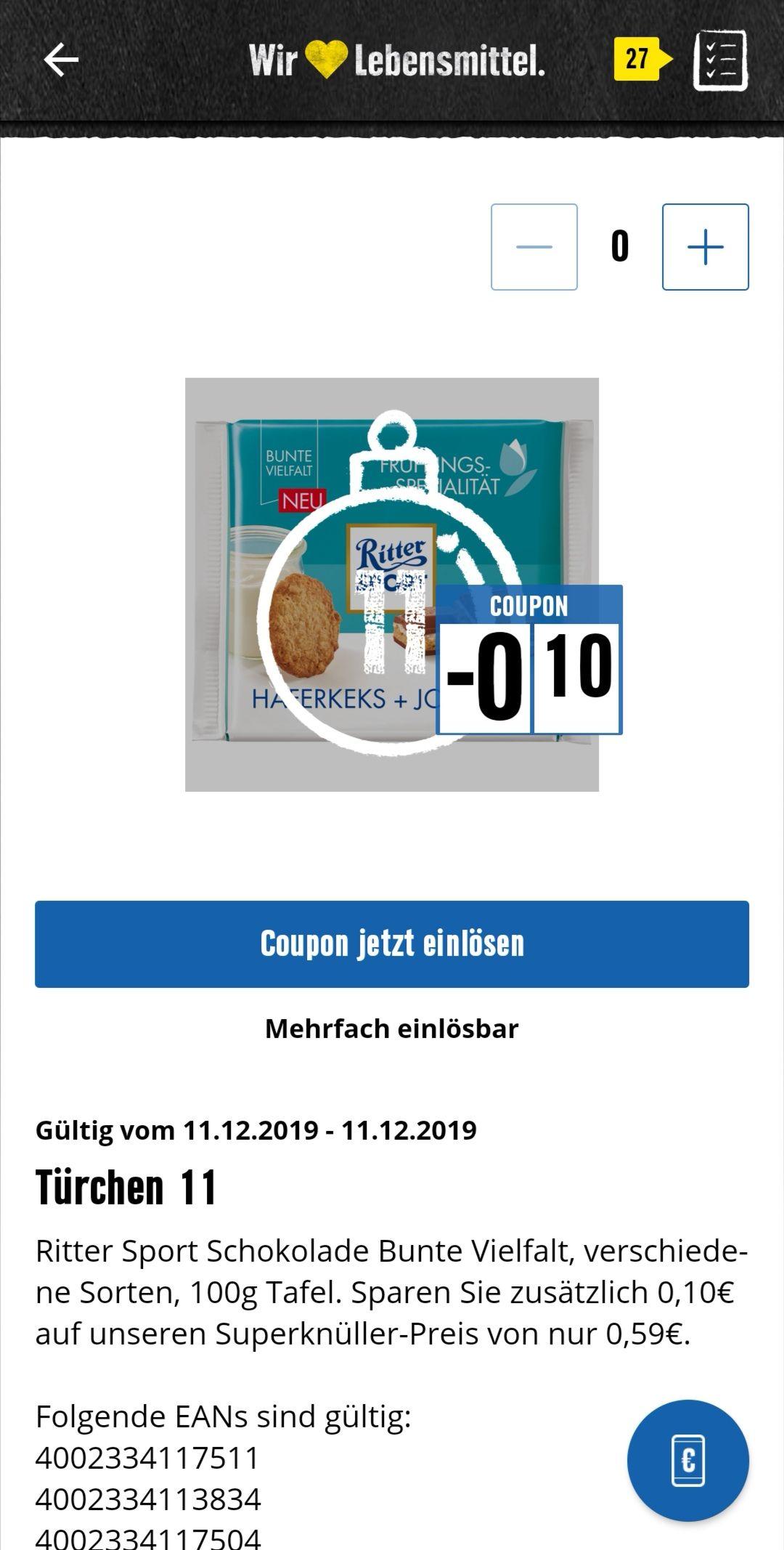 Edeka Rhein Ruhr Ritter Sport 32 Cent