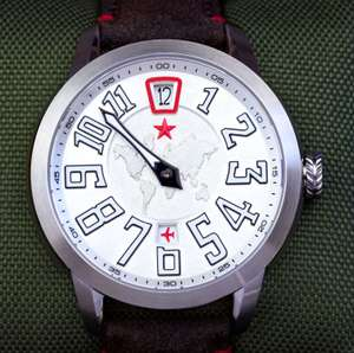 Seagull ST.17 Automatik Uhr 'Roter Stern' mit Springender Stunde, Saphirglas, verschraubter Glasboden