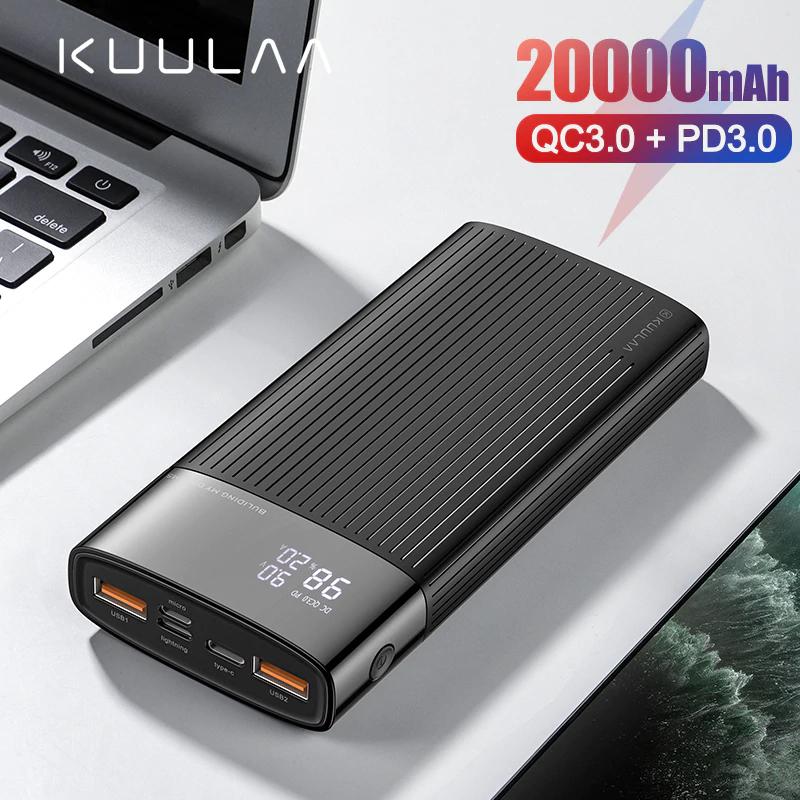 Kuulaa Powerbank mit 20.000mAh (74Wh), Quick Charge 3.0 und 18W USB-C Power Delivery für 17,90$   36W USB-Ladegerät für 4.08$