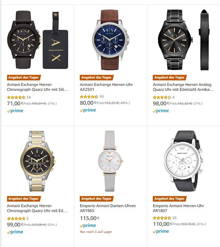 Armani Uhren im Last Minute SALE bei Amazon