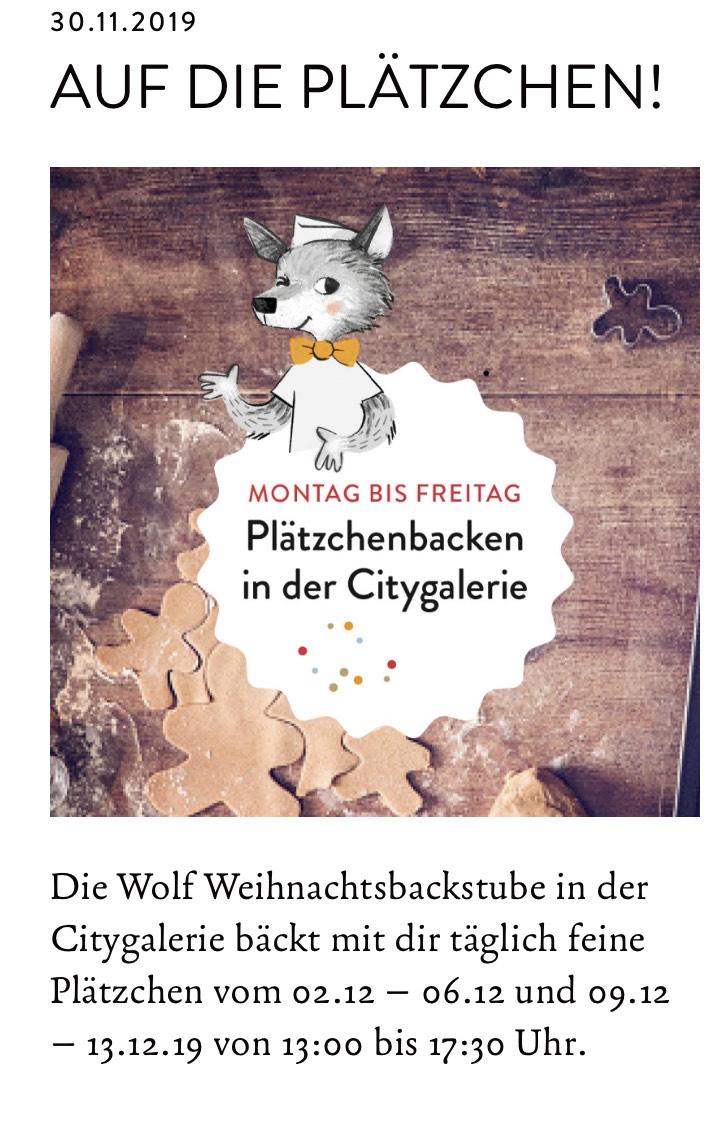 [Lokal Augsburg] Plätzchen backen für Kinder mit der Bäckerei Wolf in der Citygalerie