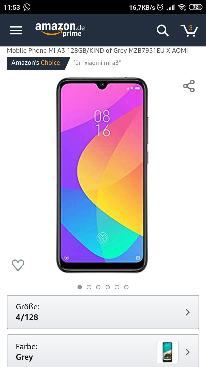 Xiaomi MI A3 (4/128GB) Kind of Grey von Amazon