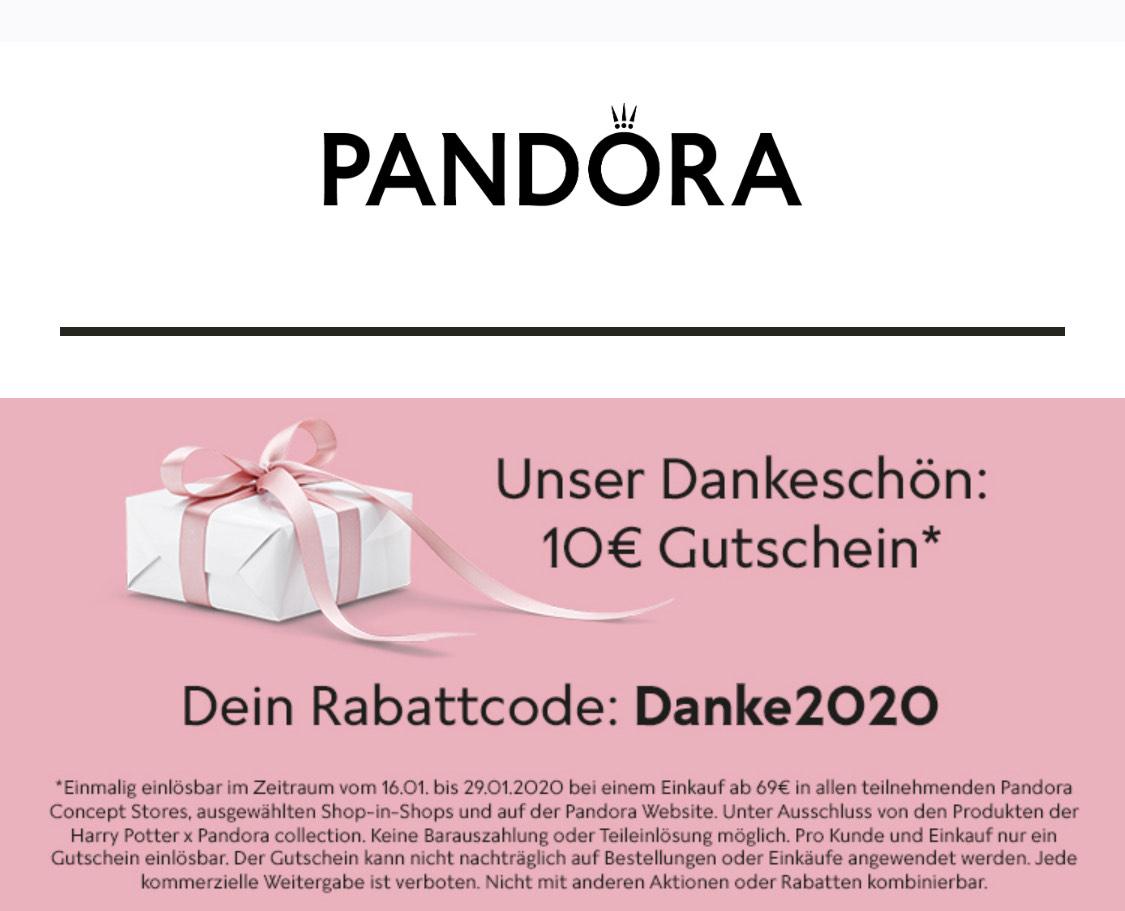10,- Euro Gutschein bei Pandora (Mindestbestellwert 69,-€)