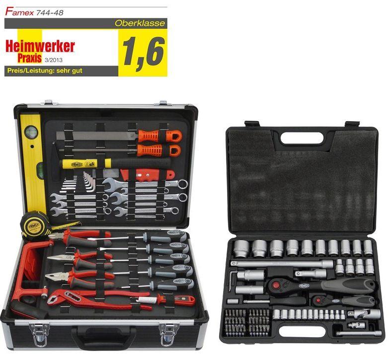 10% auf ausgewählte Werkzeugkoffer von Famex: z.B. Famex Werkzeugkoffer Universal 744-48 inkl. Steckschlüsselsatz 159-tlg. für 139,49€