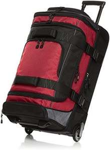 AmazonBasics - Duffel Reisetasche mit Rollen, Ripstop, 76 cm, Rot