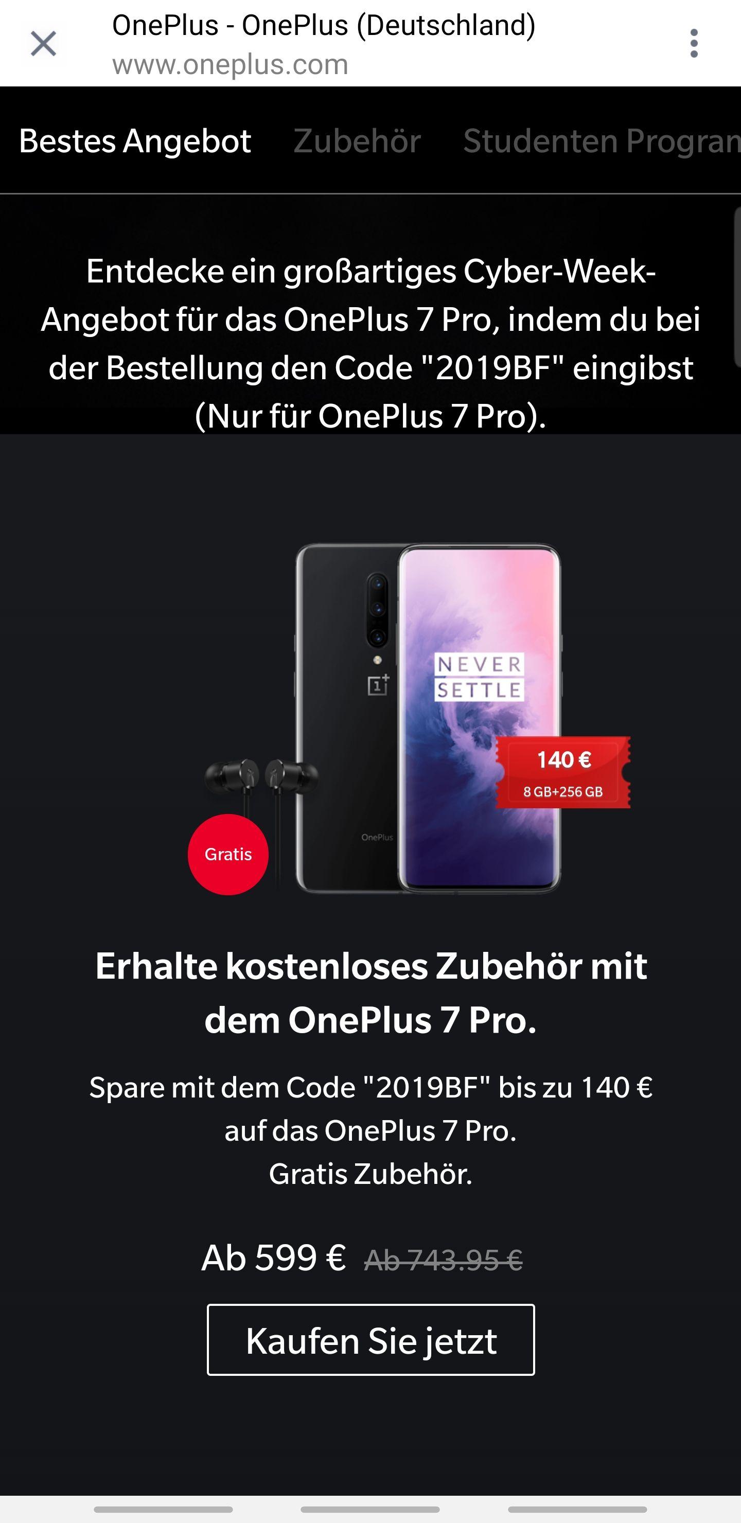 569,05€ (für Studenten) / 599€: OnePlus 7 Pro 8Gb + 256Gb mir. Gratis In-Ear-Kopfhörern