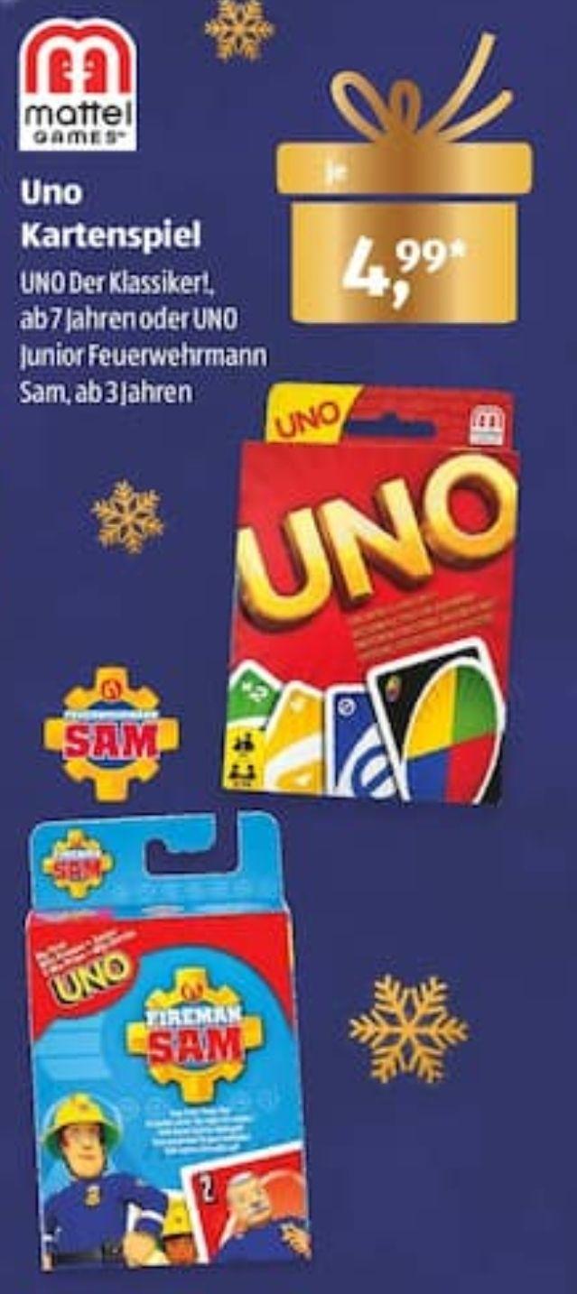 Aldi Süd: Uno Kartenspiel Der Klassiker oder Uno Junior Feuerwehrmann Sam für 4,99€ / iTunes Karten mit 15%