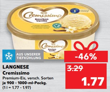 Langnese Cremissimo aka Lufteis je 900-1000ml Packung für 1,77€ bei Kaufland