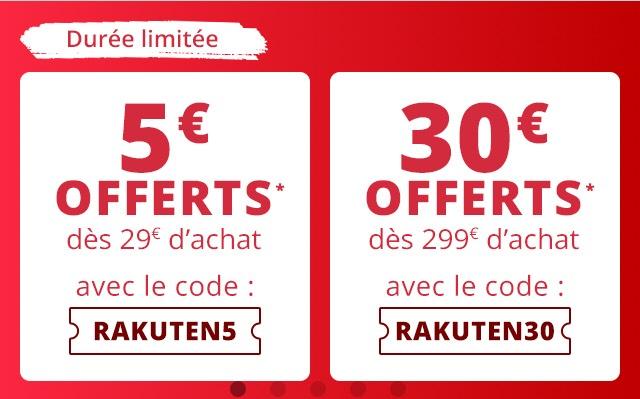 [rakuten.fr] 30€ Gutschein ab 299€   5€ ab 29€ ab Bestellert