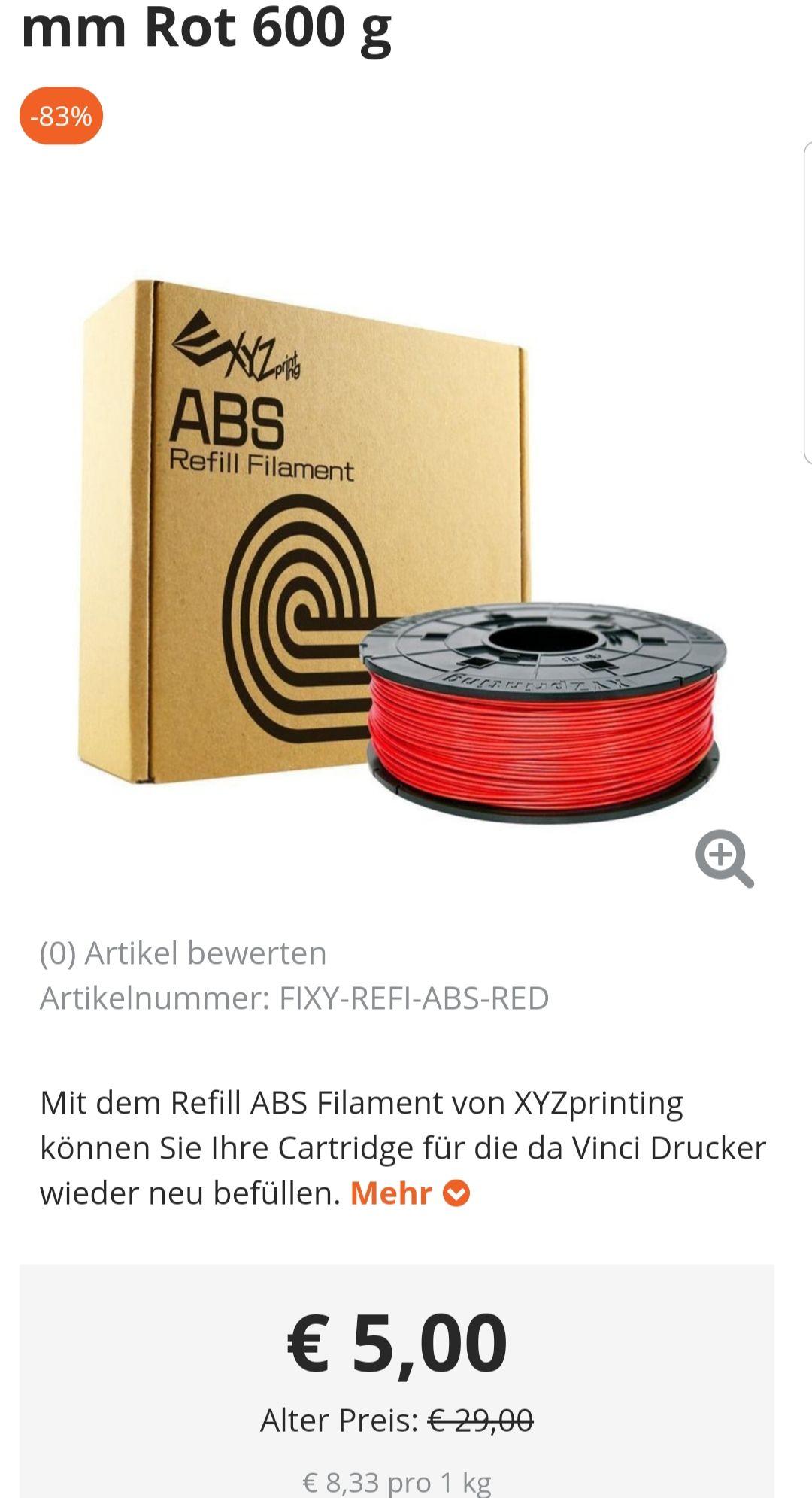 ABS filament 600g. Für 5€ (8.33€ kg.) + 4.99€ Versandkosten