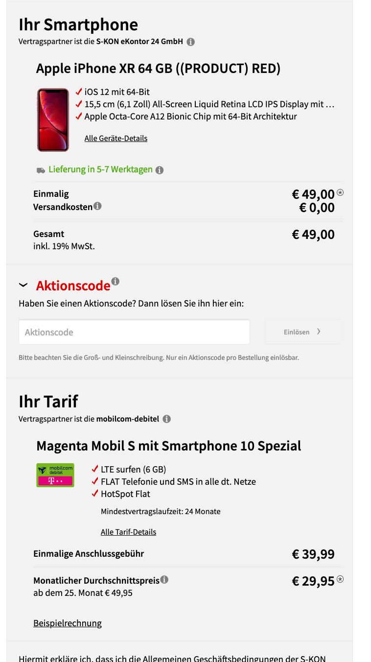 IPhone Xr 64GB (rot,blau,weiss) mit MD Magenta Mobil S 6GB auch für Oldies