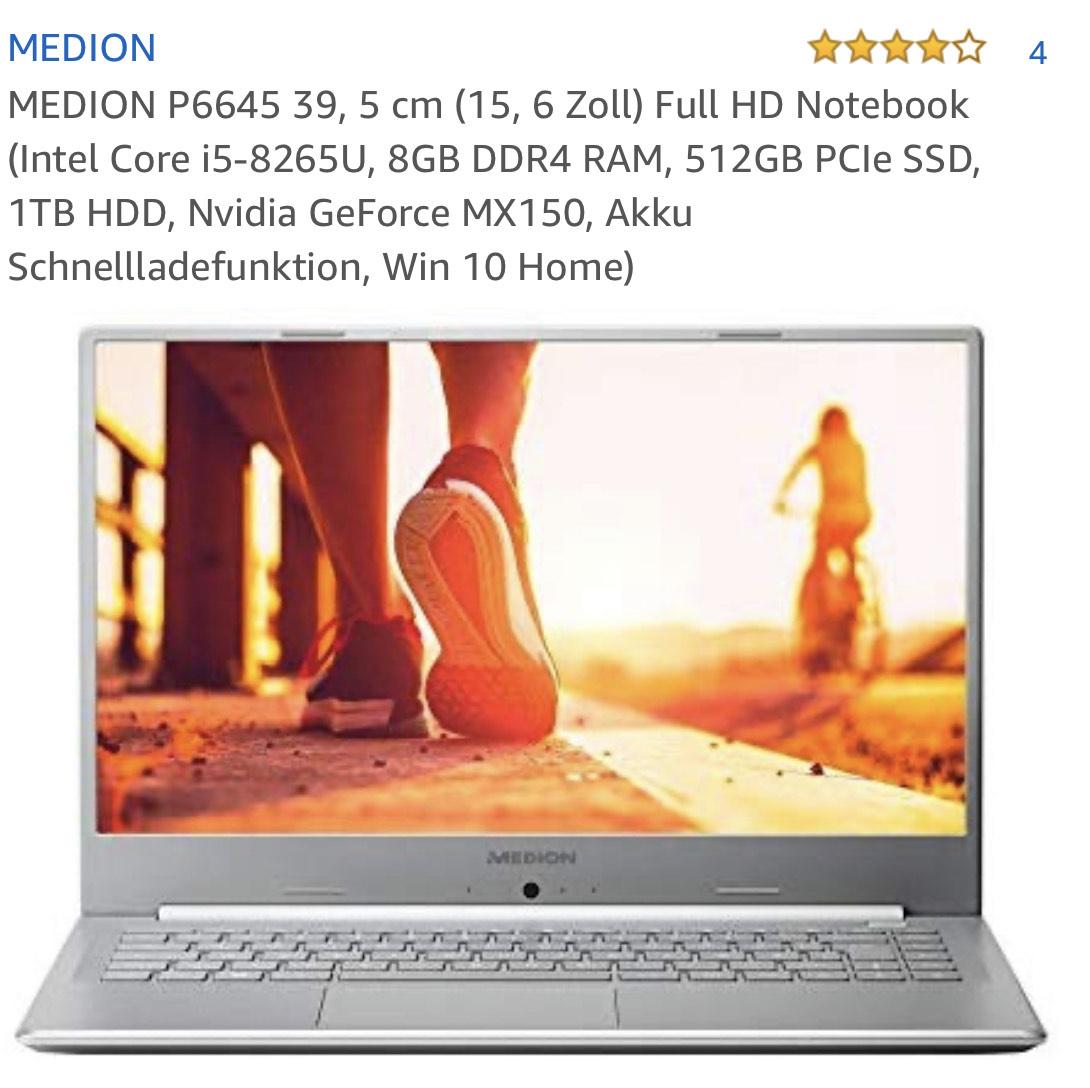 Amazon - MEDION P6645 15,6 Zoll Full HD Notebook (Intel Core i5-8265U, 8GB DDR4 RAM, 512GB PCIe SSD, 1TB HDD, Nvidia GeForce MX150