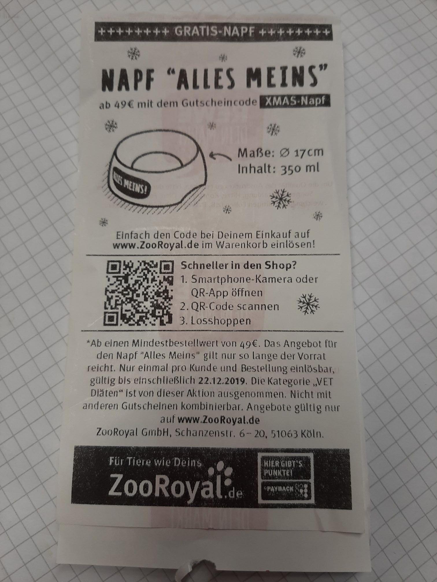 Kostenlosen Tiernapf in Wert von 12,99€ ab Bestellwert 49€ aktuell sogar 5fach Punkte bei Zoo Royal!