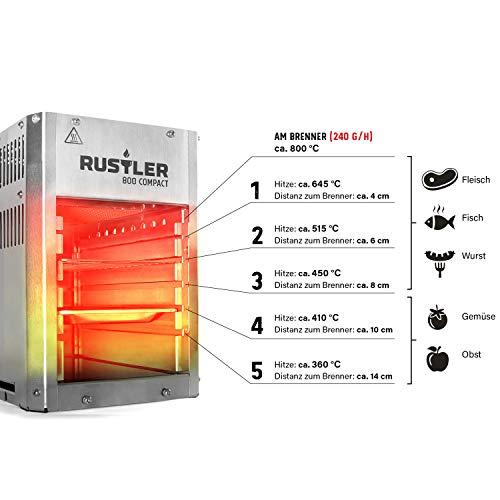 [Amazon] Rustler 800 Compact Hochleistungsgrill - Oberhitze Gasgrill aus Edelstahl für Temperaturen bis zu 800° C