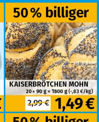 Frostkauf Mohn-Kaiserbrötchen 20 stk a 90g =1800g