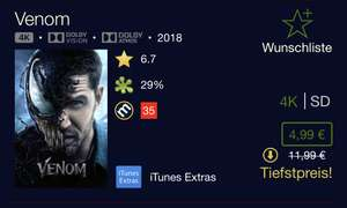 iTunes   Venom   4K   Dolby Vision