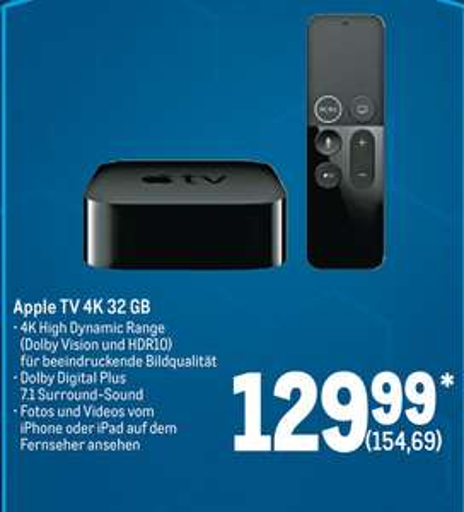 [metro ab 19.12.] Apple TV 4K - 5.Generation 32GB schwarz MQD22FD/A für 154,69€ (Gewerbe / Verein notwendig) + 1 Jahr AppleTV+ kostenlos