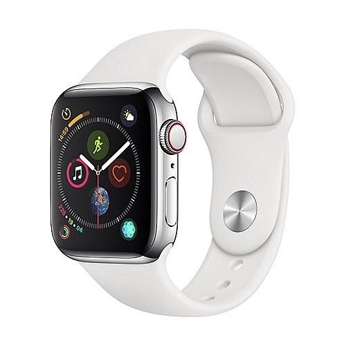 Cyberport | Apple Watch Series 4 Edelstahl silber 40mm LTE Sportarmband