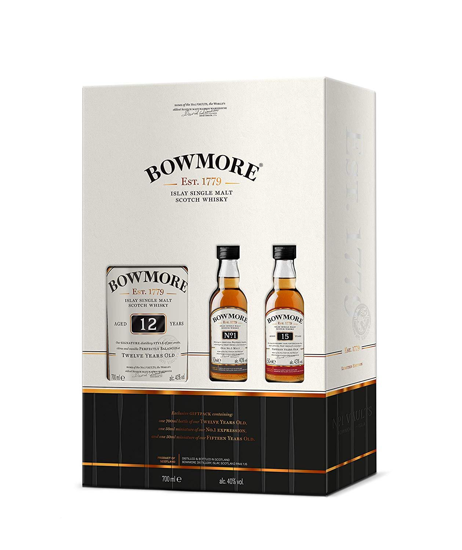 [Amazon] Bowmore 12 Single Malt Geschenkset mit zwei 0,05 Fläschchen (No.1 und 15)