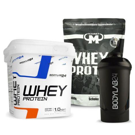 Bundle: 1kg Mammut Whey Protein Schoko (MHD 31.12.) + 1kg Bodylab24 Whey Protein (verschiedene Sorten) + Shaker für 23,99€ inkl. Versand