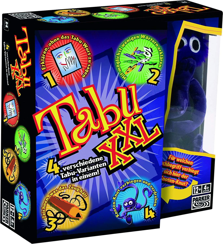 [Amazon Prime] Hasbro Gaming 04199100 - Tabu XXL Partyspiel, ab 4 Spieler, ab 12 Jahren, inkl. Knoten-Knut (Plüschfigur)