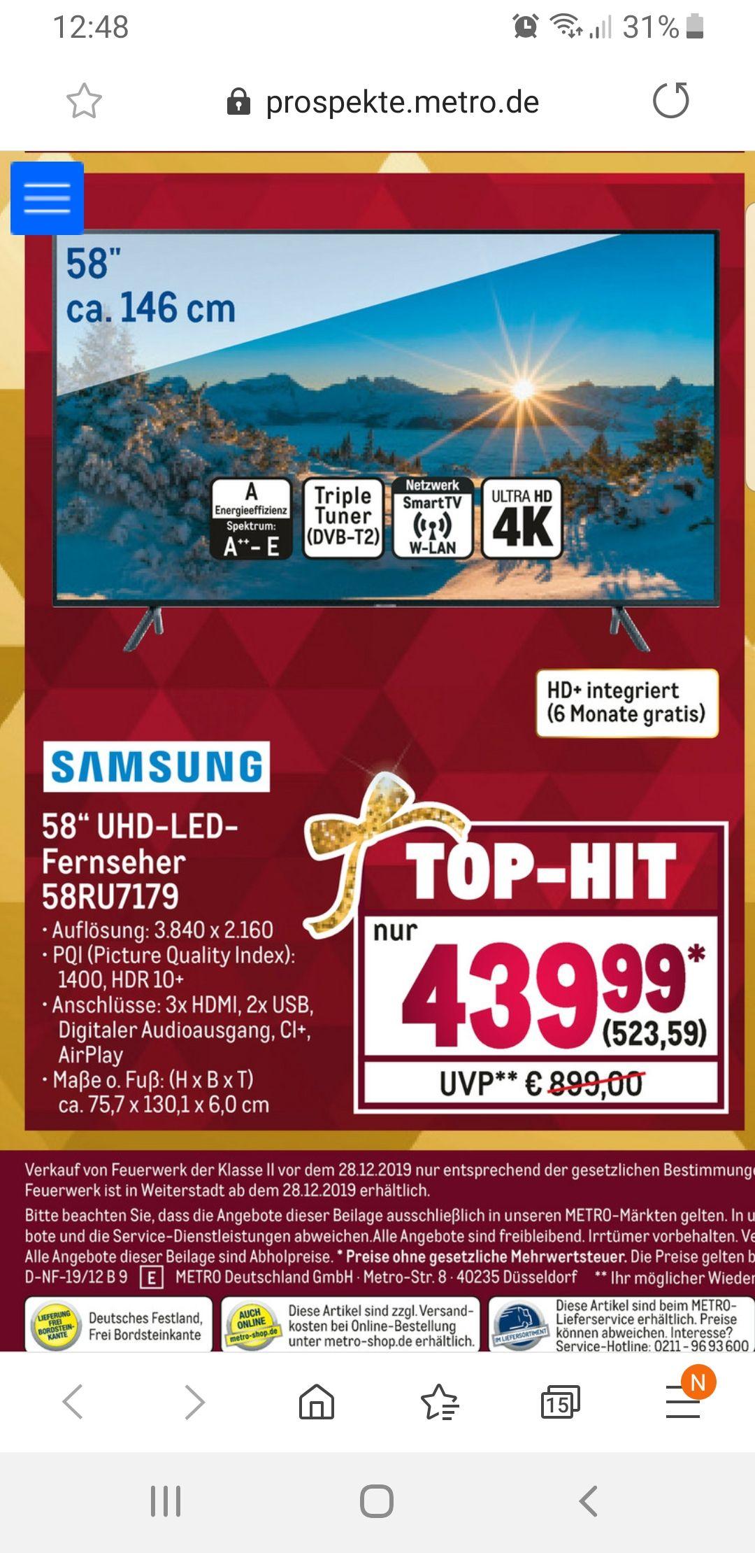 [Lokal Metro]Samsung UE58-RU7179