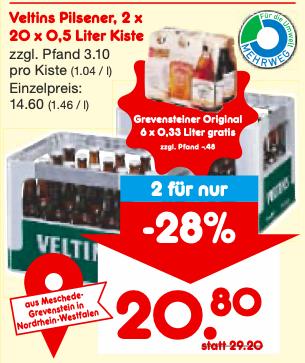 [NETTO Düsseldorf] 2x Veltins Kiste kaufen + 1x Greventsteiner 6er gratis (zzgl. Pfand)