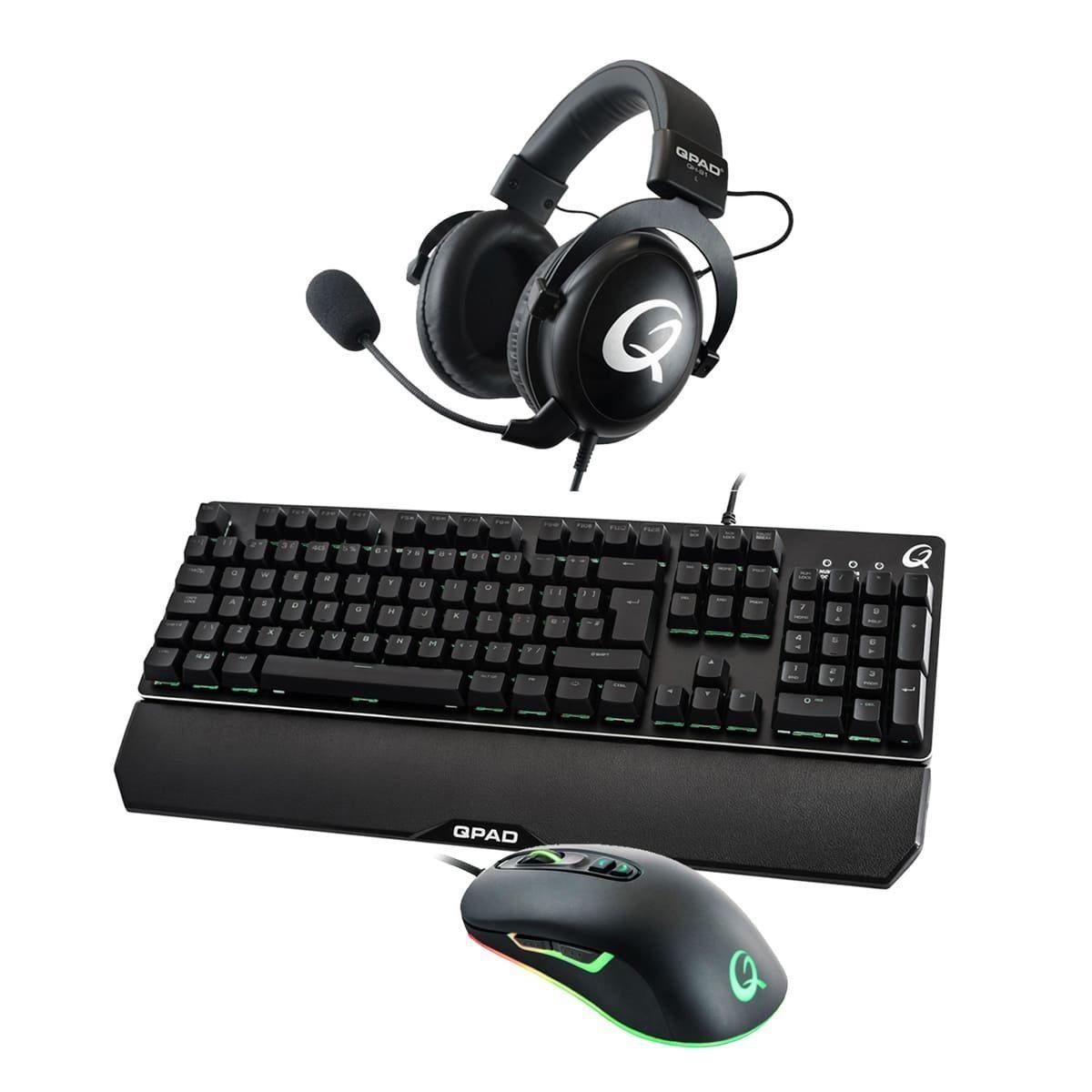 [One.de] QPAD DX-30-Maus, MK-40-Tastatur QH-91-Headset BUNDLE