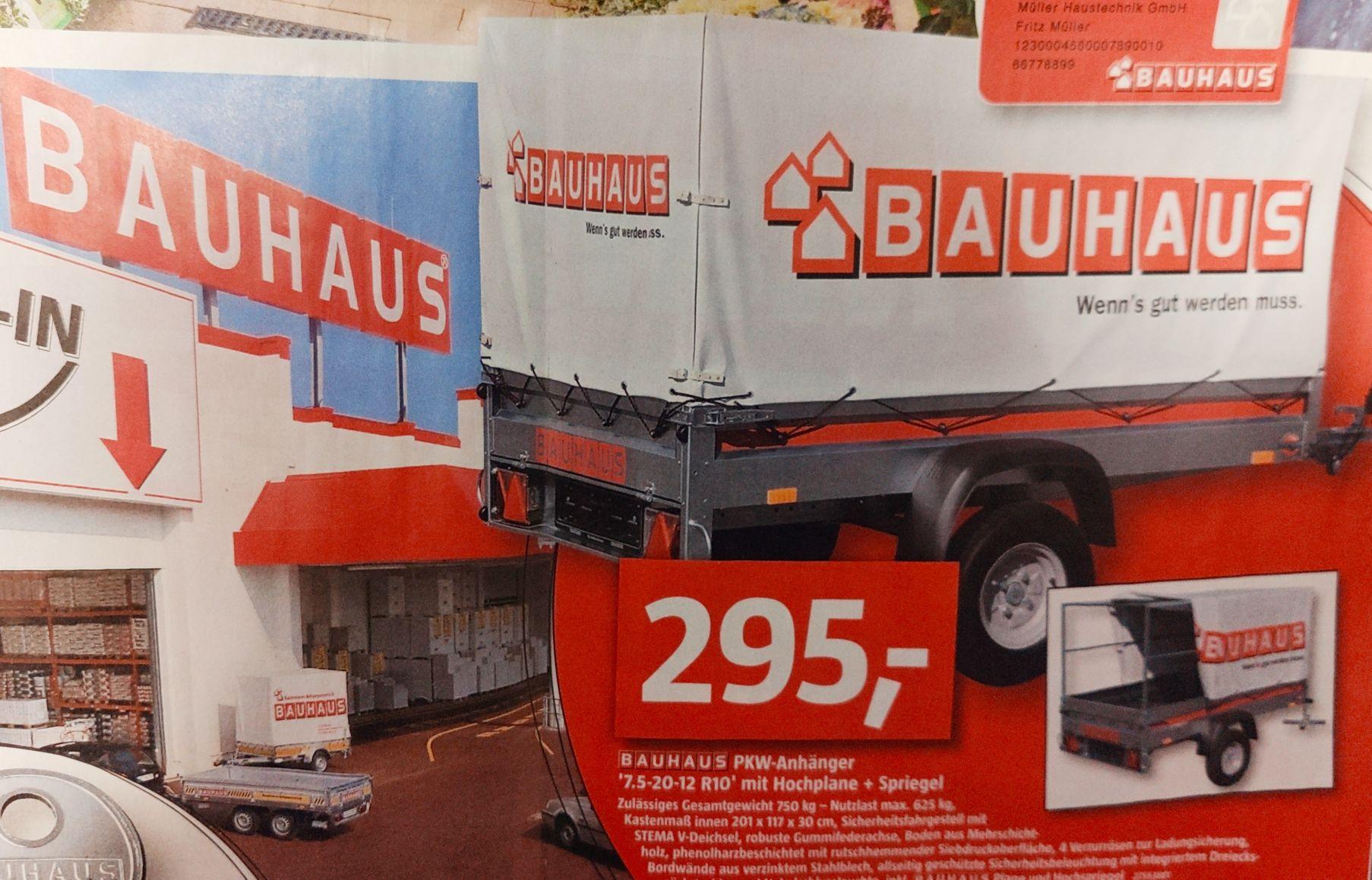 (Lokal Dresden) Bauhaus PKW-Anhänger mit Hochplane und Spriegel