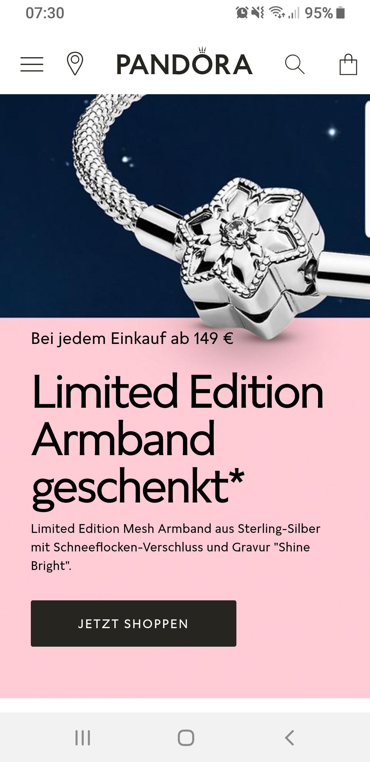 Pandora Limited Edition Armband gratis