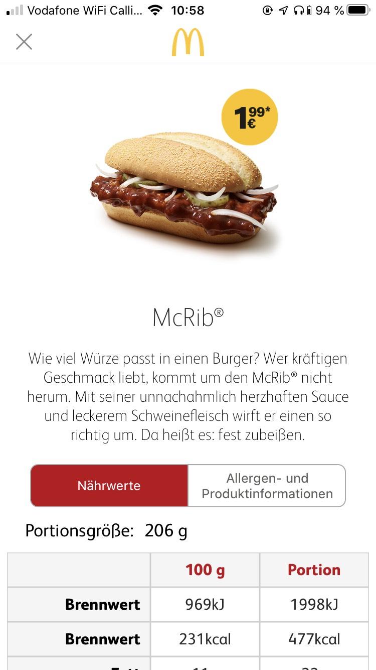 McRib für 1,99€ (kein Coupon)