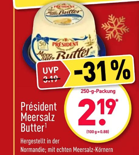 Président Meersalzbutter 250g für 2,19€ bei Aldi Nord und Süd ab 20.12